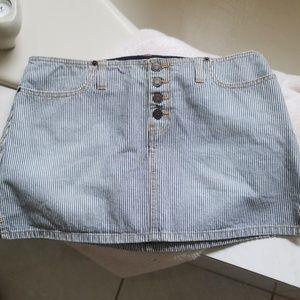 Abercrombie & Fitch Striped Denim Mini Skirt